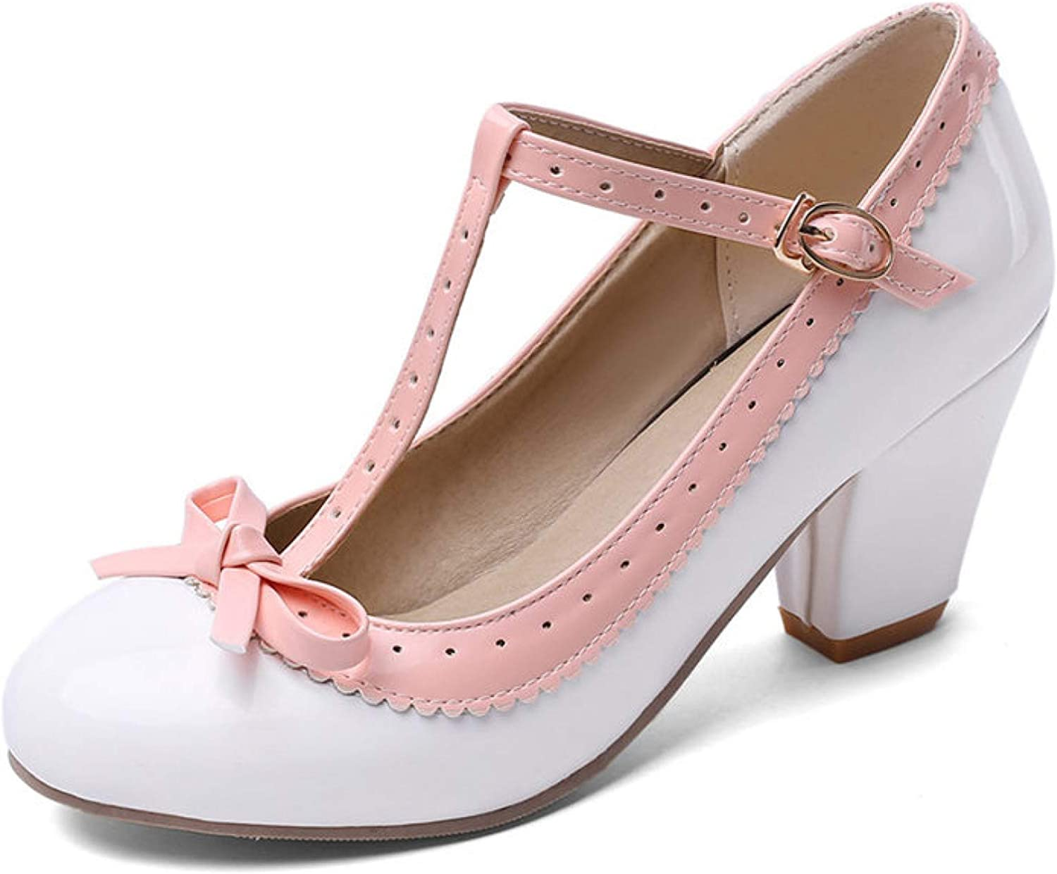 Womens T-Strap Round Toe Oxfords Mary Jane High Block Heel Walking Dress Shoes