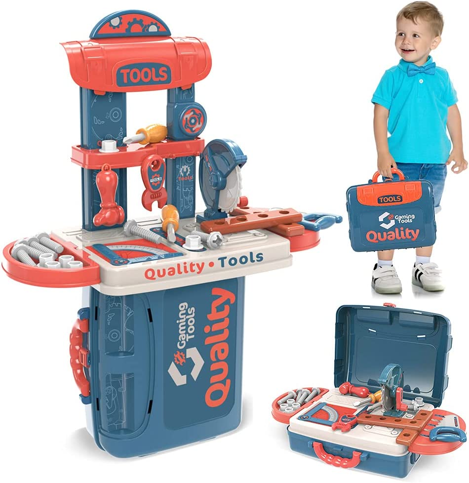 iHizbor Kids Tool Bench Set Award-winning store New popularity 34-Pcs T Toy with Play Pretend