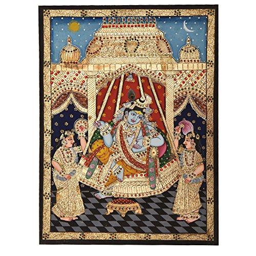 Étagère Indien Fait à la Main Krishna dans la balançoire Décoration Murale Pt-46