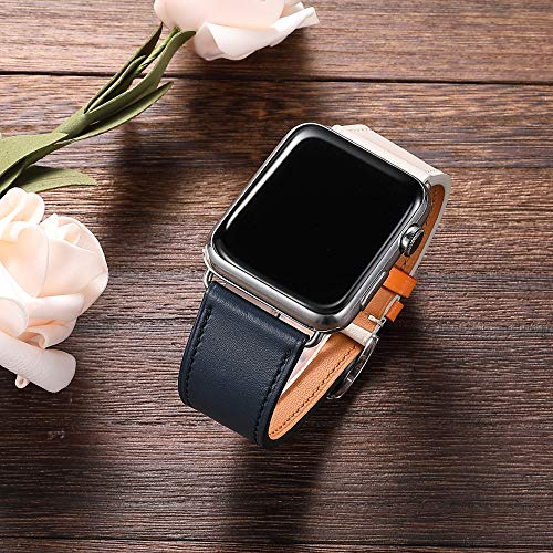 iStrapForapplewatchバンド,38mm42mm40mm44mm本革多色シンプル二重巻きアップルウォッチバンドswift腕時計series4series3series2series1レザー