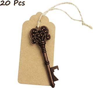 20pcs Wedding Favors Rustic Vintage Skeleton Key Bottle Opener with Escort Tag Card and Twine, party favors for adults by iPihsius