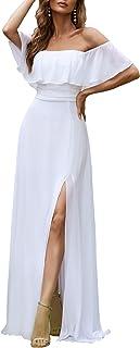 Ever-Pretty Damen Abendkleid A-Linie Chiffon Off Shoulder Dekolletiert Ärmellos Rüschen Hohe Taille 00968