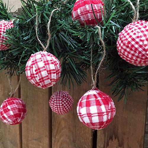 Set of 12 Cherry Red & White Plaid Cotton Fabric 1.5 inch Ball Christmas Ornaments