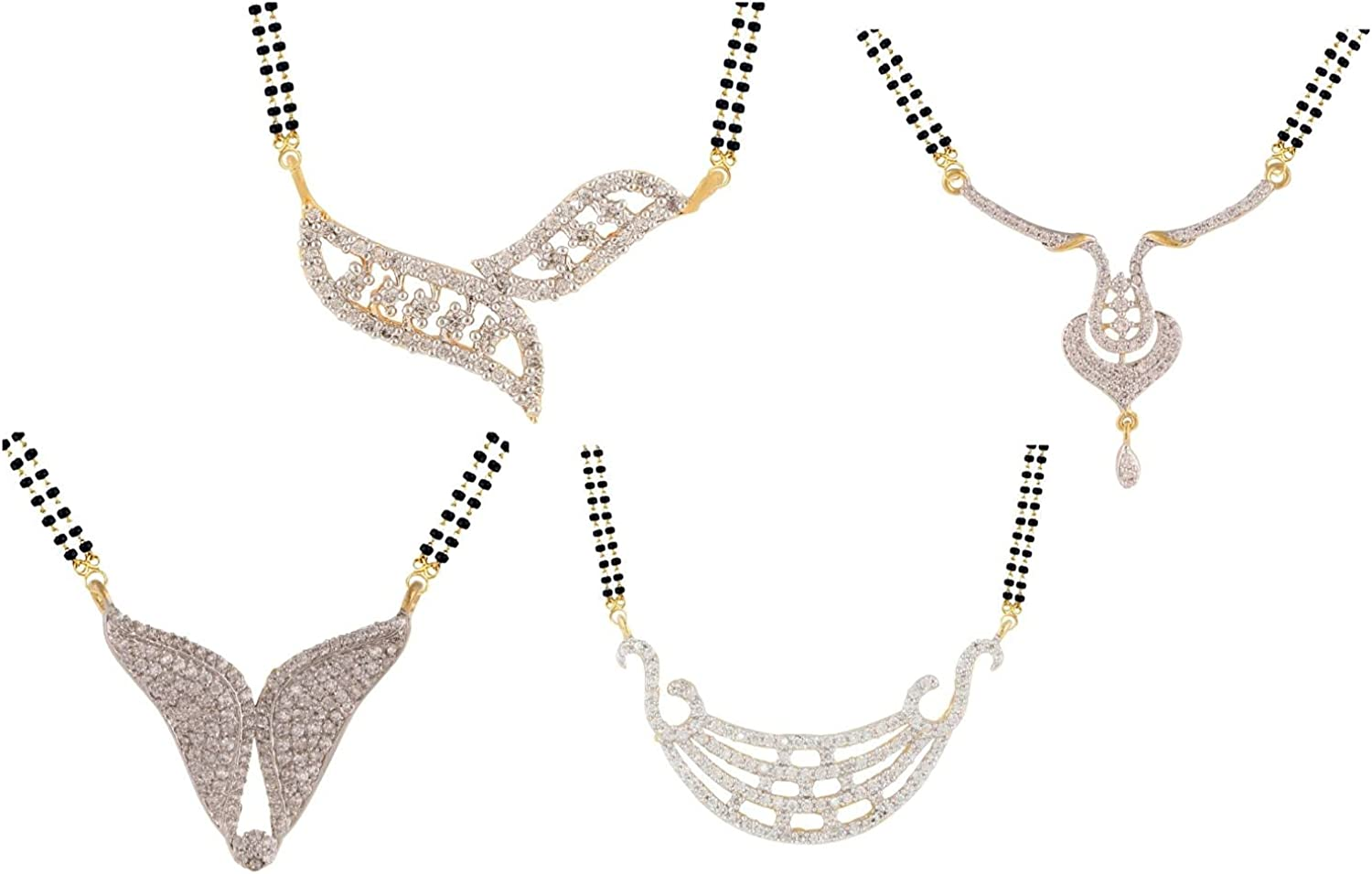 Efulgenz Combo of Indian Bollywood Ethnic Traditional Mangalsutra Pendant with Chain Jewelry for Women (Set of 4)