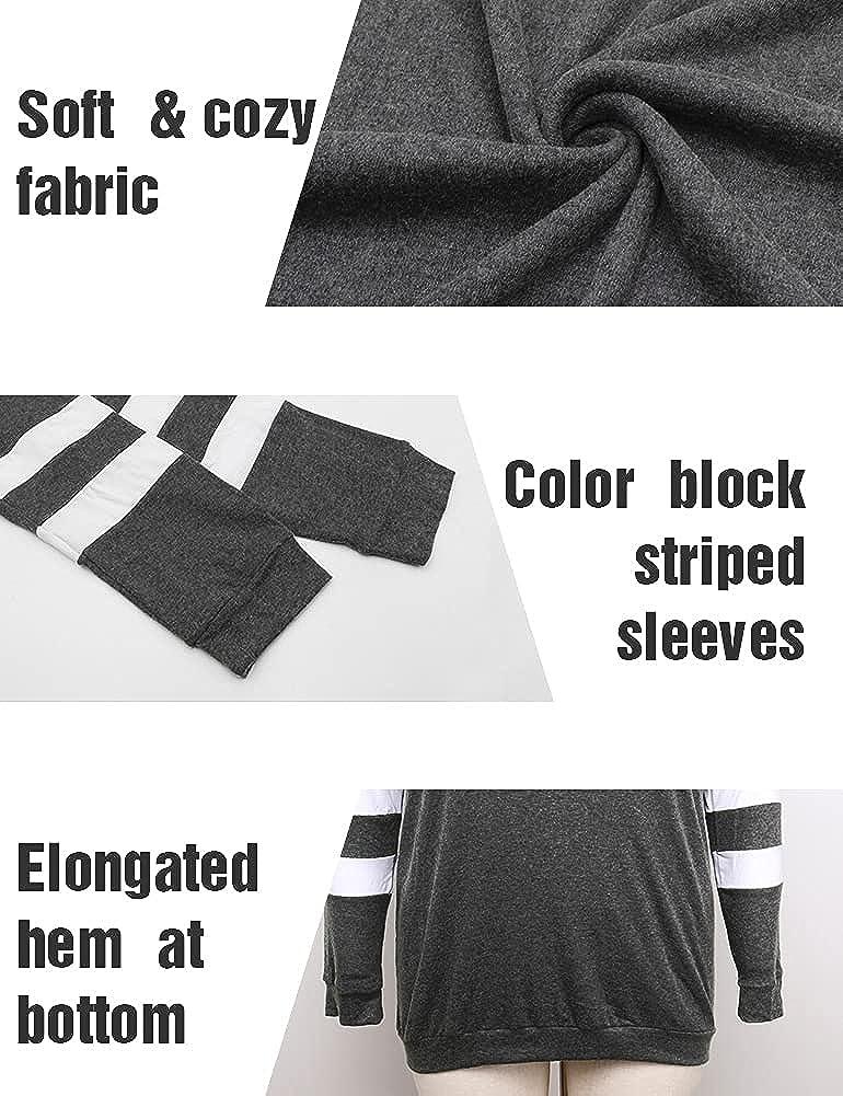 Allegrace Plus Size Tunic Tops for Women Long Sleeve Fall Crewneck Tunics Sweatshirts to Wear with Leggings