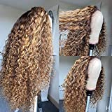 Fureya Curly Hair Lace Front Wigs for Black Women Dark Root Ombre Brown Color 2 Tones Synthetic Long Wigs Heat Resistant Fiber Hair 26 Inch Honey Blond Wigs