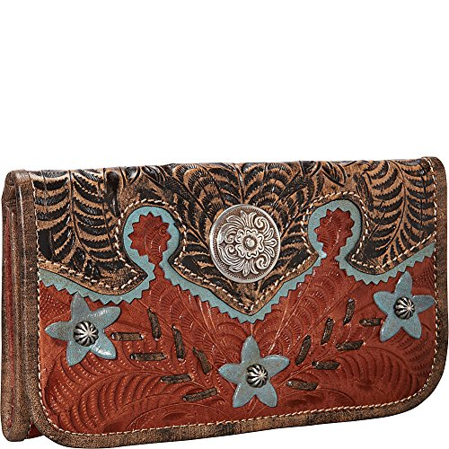 American West Women's Aw Desert Wildflower Tri-Fold Wallet Brown One Size