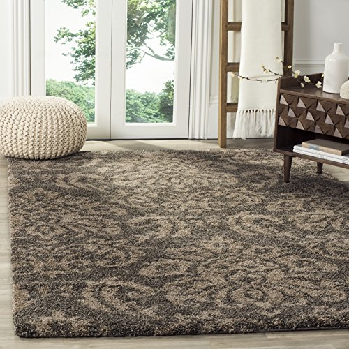 Safavieh Florida Shag Collection SG460-7913 Damask Textured 1.18-inch Thick Area Rug, 5' 3' x 7' 6', Smoke/Beige