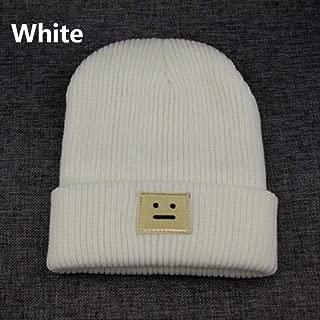 MZHHAOAN Hat Autumn Winter Fashion Warm Knit Cap British Style Smiley Head Knitted Cap for Women Outdoors Headwear
