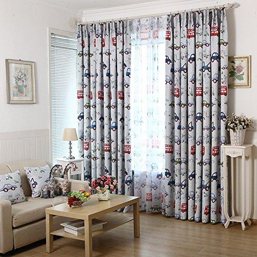 adaada Cartoon-Auto-Stil Kinder vorhänge mit Kräuselband, Zimmer Verdunkelungs vorhänge für Kinderzimmer,2er-Set(260cmX140cm,Stoffvorhang)