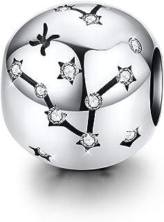 Signe du zodiaque charme fit Pandora Charms Bracelet, charme de perles étoiles de Poisson en argent Sterling 9 horoscope c...