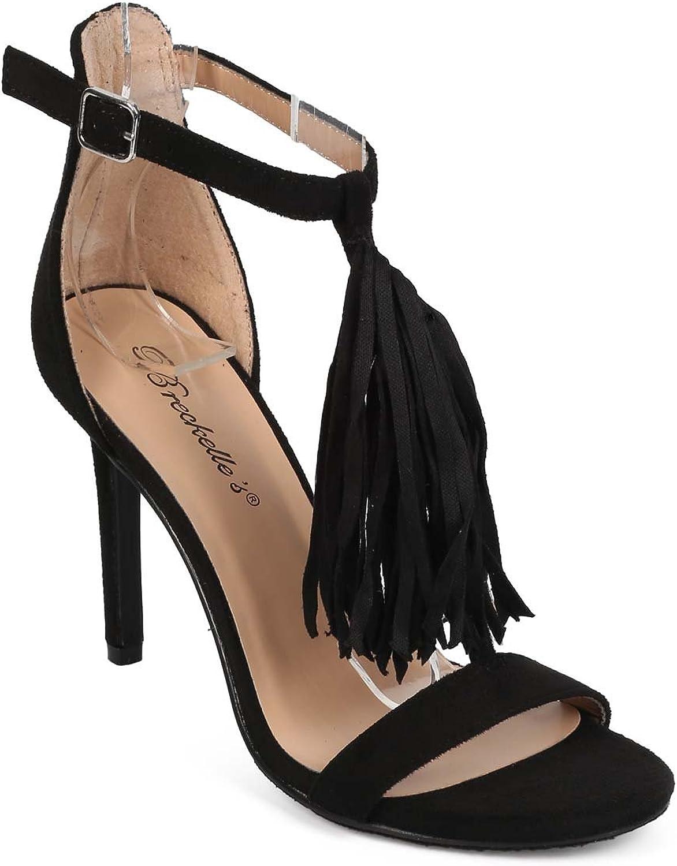 Breckelles ED35 Women Suede Open Toe Fringe T-Strap Single Sole Sandal