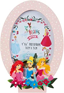 Happy Homewares Disney Princess Trio Pink Hand Painted Oval Frame - Aurora, Cinderella and Ariel - Officially Licensed