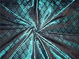 Seide Brokat Blaugrün Grün und Schwarz bro534[4]