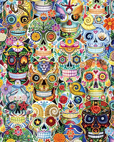 Vermont Christmas Company Day of The Dead (Sugar Skulls) Jigsaw Puzzle 1000 Piece