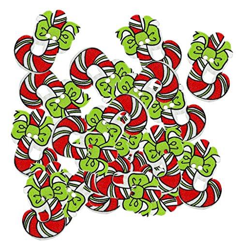 Colcolo Juego de 50 Piezas de Botón de Madera Impreso con Forma de Bastón, Decoración Navideña, Fiesta DIY