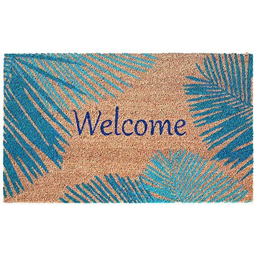 Liora Manne Natura Tropical Palm Border Blue Outdoor Welcome Coir Door Mat, 2 ft x 3 ft