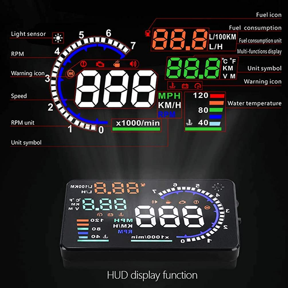 A8 HUD Heads Up Display for Car,5.5 inch Car Windshield HUD OBD2 Heads-Up Display OBDii Speedmeter with Speed Fatigue Warning RPM MPH Fuel Consumption