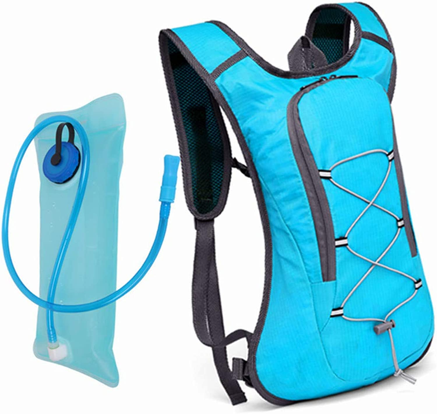 Water Bladder Hydration Shoulder Backpack Lightweight Daypack 2L for Outdoor Gear Skiing Running Hiking Cycling (color   bluee+bluee 2L Water Bladder)
