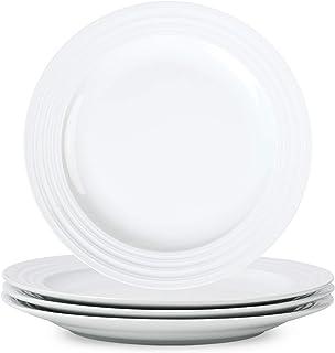 White Porcelain Dinner Plates Salad Dessert Appetizer Plates Round Flat Dishes Serving Plate,11 inch-Set of 4