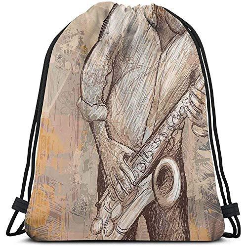 Lemotop rugzakken tassen, jazz muzikant spelen de saxofoon solo in de straat op grunge achtergrond kunst druk, verstelbare string sluiting