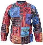 Little Kathmandu Camisa para hombre, tipo patchwork, estilo hippie, con símbolos estampados