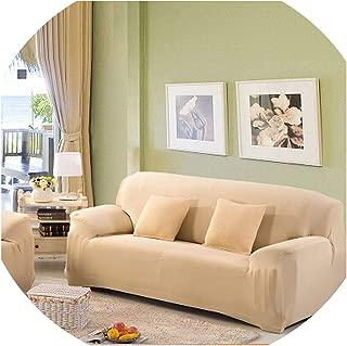 Solid Stretch Slipcover Three All-Inclusive Generic Leather Sofa Cushion Sofa Cover Towel Custom Summer Full cover1pcs,Beige,Three seat Sofa