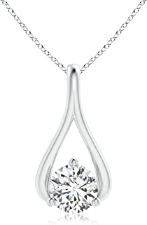 Solitaire Lab Grown Diamond Wishbone Drop Pendant in 14k Gold (0.23 ctw, H Color & SI2 Clarity)