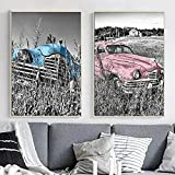 WAFENGNGAI Póster Vintage Negro Blanco Rosa Azul Retro Coche Paisaje Lienzo Pintura cuadros nórdico Decoración del hogar para sala de estar Dormitorio Mural-50X70Cmx2 Sin marco