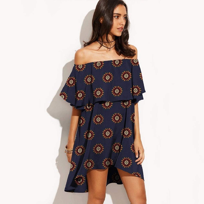 Man&Y 女性ドレスファッションルーズワードカラーフルーツプリントレジャーワンピーススカートレトロレジャールース (Color : 3, Size : L)