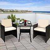 Deuba Conjunto de muebles para balcón Cube de Poliratán 1 mesa 2 sillas 4 cojines compacto Negro...