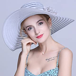 ZXH77f-Fashion hat Ladies Sun Hat Summer,Shading Polyester Wide Brim Solid Stripes Hats Women Sun Hats,Women Straw Sun Hat (Color : Gray)