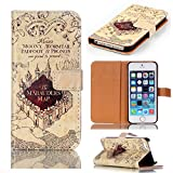 Hogwarts Marauder's Map Pattern Slim Wallet Card Flip Stand Leather Pouch Case Cover For 2014 Apple iphone 6 Plus 5.5 inch New Arrivel- Cool as Great Xmas Gift