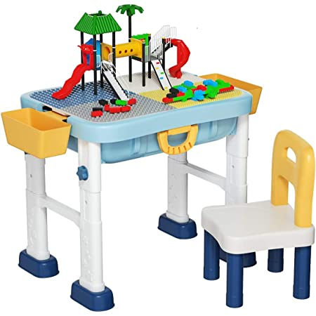 Versatile Toys for Toddlers 2 3 4 5 Year Old Upgrade Toddler Activity Table Kids Table /& Chair Set with 230PCS Building Blocks All-in-One Multi Activity Playset and Water Table Sand Table