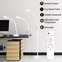 Syrinx 3 in 1 LED Floor Lamp, Desk Lamp, Clamp-on Lamp With Remote Control, 5 Brightness Levels & 5 Colors Temperatures, Dimmable, Adjustable Gooseneck Pole Lamp for Living Room Office Bedroom - White