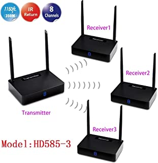 MEASY HD585-3 1x3 Wireless HDMI Extender Support 8 Channels 1 Transmitter to 3 receivers with IR Remote Control Back Function
