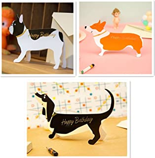 Birthday Pop Up Cards Set Lovely Cute Dogs, Frenchie French Bull Dog, Corgi, Sausage Badger Dog Pop Up Card, 3D Cards, Greeting Card (3 pop up doggies)