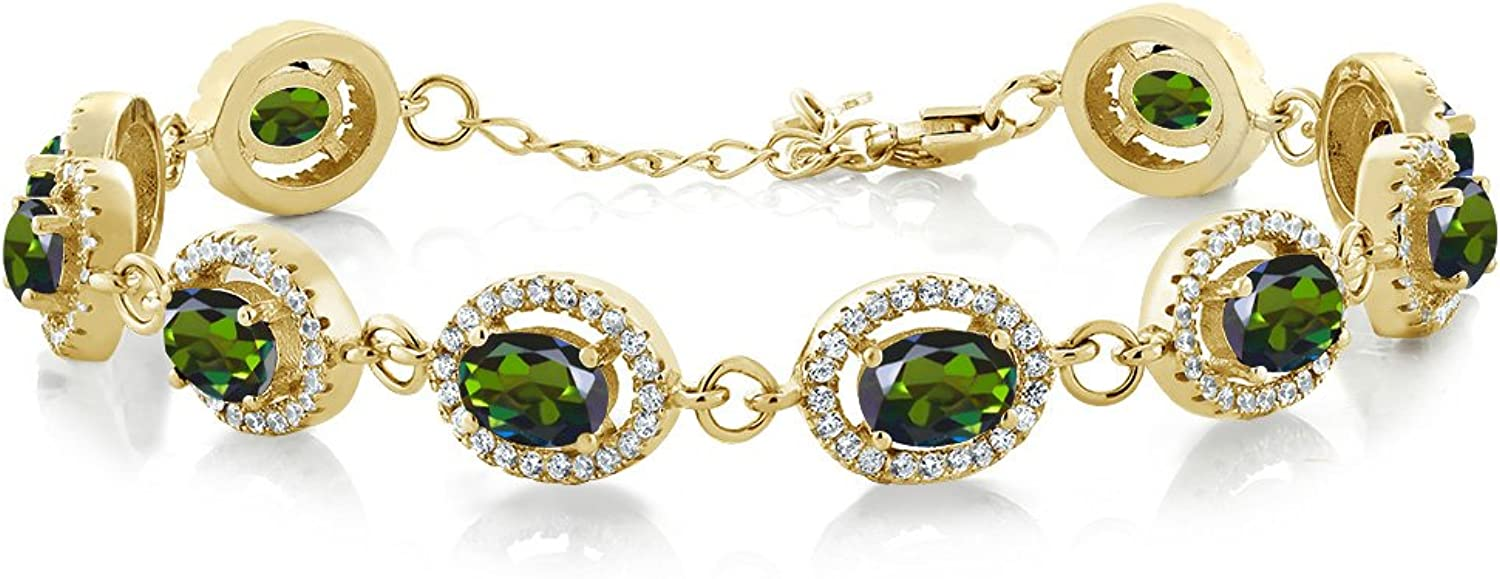 12.38 Ct Forest Green Mystic Topaz 18K Yellow gold Plated Silver Bracelet