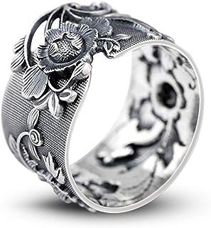 BALMORA 999 الفضة الاسترليني النقي خواتم مفتوحة للنساء عاشق حزب هدية خمر الفاوانيا زهرة الفضة والمجوهرات والاكسسوارات