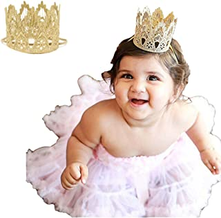 Floral Fall Baby and Mother Vintage Photo Prop Princess Gold Lace Crown Elastic Headbands BY-08