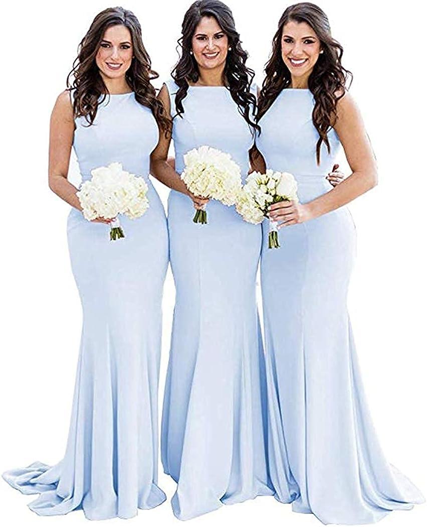 Women's Mermaid Surprise price Bridesmaid Dress Portland Mall Long Neck Form Jewel Sleeveless