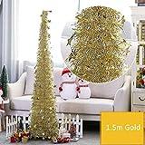WElinks Espumillón Artificial Plegable para árbol de Navidad, Boda, hogar, Fiesta, árbol de Navidad con Purpurina Brillante para decoración, árbol de Navidad con Lentejuelas y Soporte