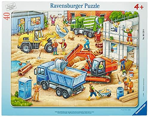 Ravensburger Kinderpuzzle - 06120 Große Baustellenfahrzeuge - Rahmenpuzzle für Kinder ab 4 Jahren, mit 40 Teilen