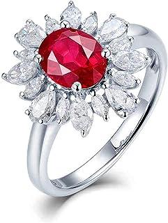 ButiRest - Anello da donna in oro bianco 18 carati 750 con quattro artigli, taglio ovale 1,2 ct rosso rubino VS e diamante...