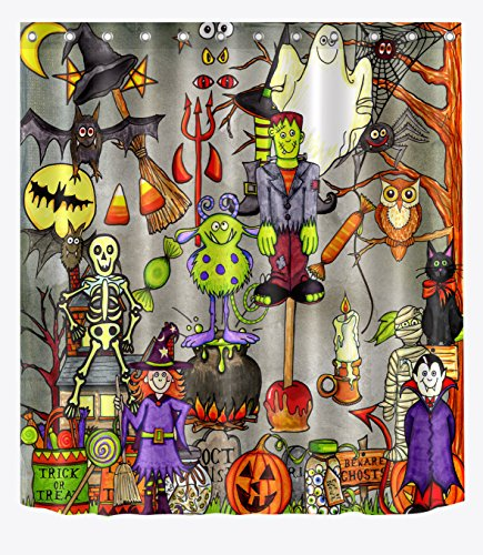 LB Witch Haunted House Vampire Scary Halloween Shower Curtain for Bathroom Black Cat Spider Web Shower Curtain Hooks for Kids Children Bathroom Decor, 70x70 Waterproof Fabric