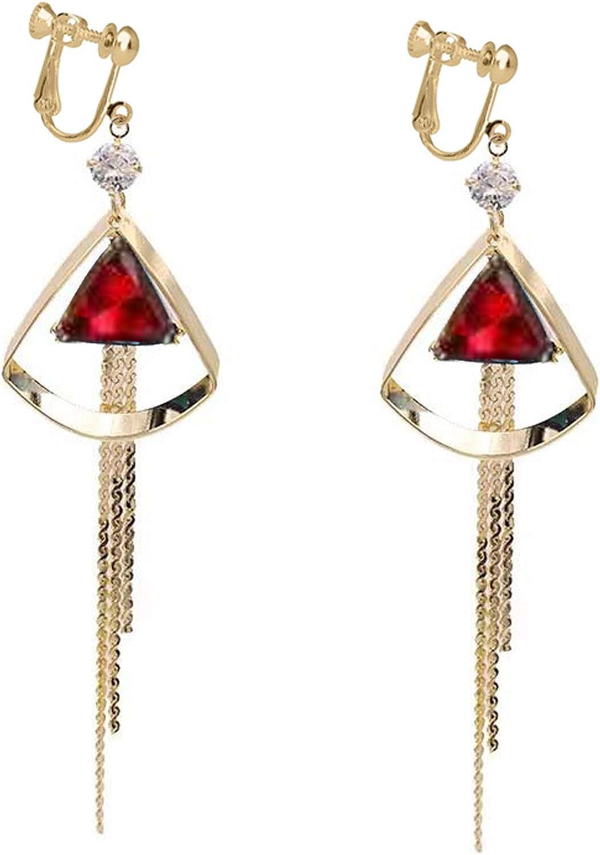 Drop Dangle Clip on Earrings No Pierced Blue Red Crystal Tassels Triangle for Women Girls