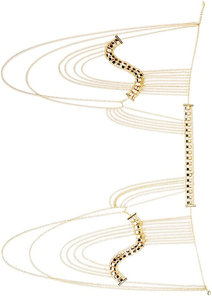 MagiDeal Pretty Statement Harness Necklace Tassel Shoulder Body Chain Bikini Jewelry