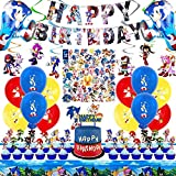 WOOACME Sonic The Hedgehog Party Supplies, 101pcs Birthday Party Decorations Include Happy Birthday Banner, Hanging Swirls Decorations, Foil Balloons and Latex Balloons, Stickers, Cake Topper and Table Cover for Kids