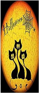 VOSAREA Halloween Door Covers Black Cat Pattern 3D Door Sticker Wallpaper for Halloween Party Haunted House Scary Decorations