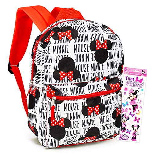 Minnie Mouse Backpack for Girls Kids Adults ~ 16' Disney Minnie Mouse School Backpack Bag Bundle with Stickers (Minnie Mouse School Supplies)